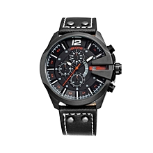 Mens Business Watches Top Brand Luxury Waterproof Chronograph Watch Man Leather Sport Quartz Wrist Watch Men Clock Male (Black) WWD