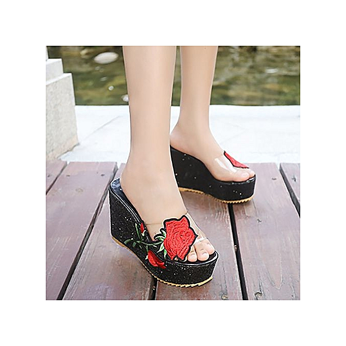 d6fc4f0025 Hiaojbk Store Women Thick-Bottom Sloped Slippers Embroidered High-Heeled  Wedges Platform Shoes-