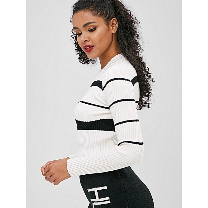 6f41d7d7652 Striped Ribbed Fitted Knitwear,White