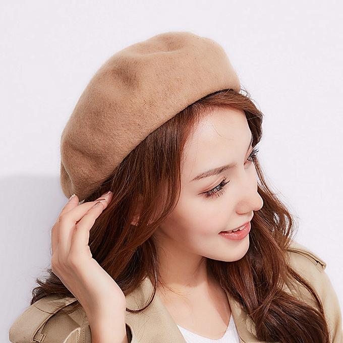High Quality Women Ladies Sweet Solid Warm Wool Winter Beret French Artist Beanie  Hat Ski Casual e24b1016b3b