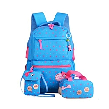 School Bags Star Printing travel Backpack kids Orthopedic Backpack 3pcs/Set Rucksack-Blue