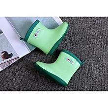 Waterproof Child Soild Rubber Infant Baby Rain Boots Kids Rain Shoes- Green