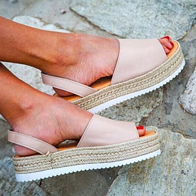 b04b3aae9d7b Fashion ALEX most popular best rating lowest price Women s Ladies Summer  Flat Playform Woven Thick-Bottom Sandals Roman Shoes