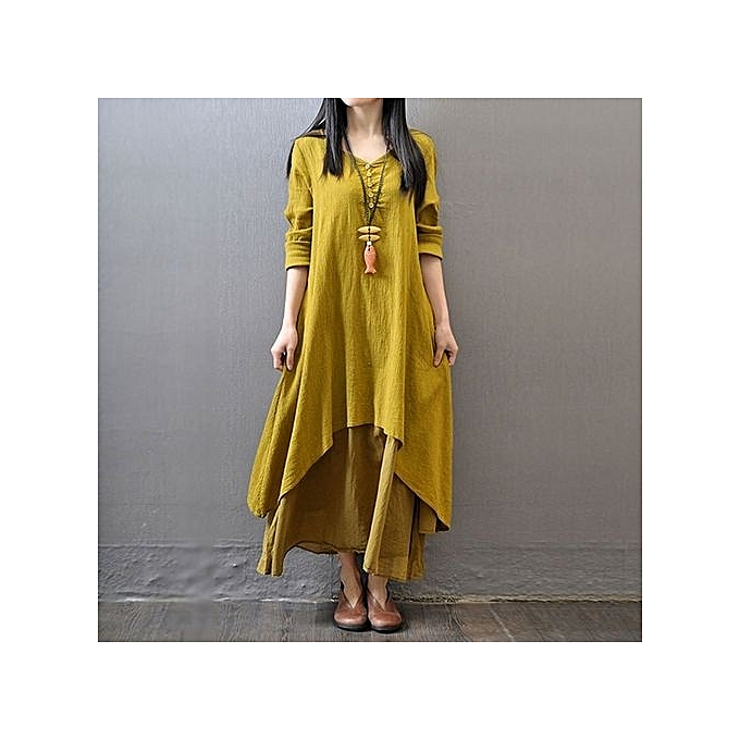 61e26ddbd70 Elegant Loose Full Sleeve V Neck Dress Fashion Plus Size Women Autumn Dress  Vestidos Casual Solid