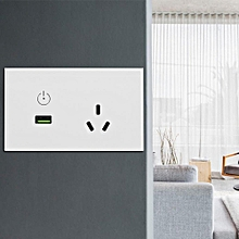Glass Panel USB Charger Wall Plug Power Socket Touch Switch With Electric Outlet White US Plug