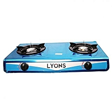 Stainless Steel Body Gas Stove Double Burner-  Blue.