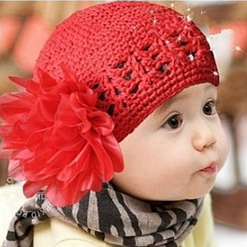 71d42445263 Generic jiuhap store Cute Baby Handmade Mesh Double Flower Cotton Cap  Christmas Hats Red-Red