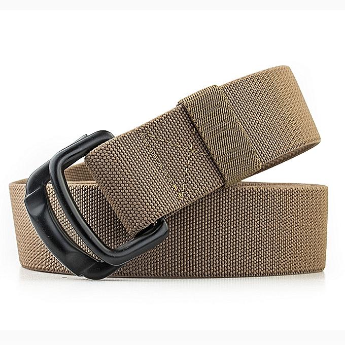 0cbfe1c383a14 125CM Men Casual Double-ring Elastic Braided Belt Metal Buckle Canvas Belt