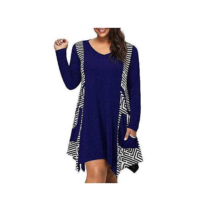 f959f26778a Hiaojbk Store Fashion Womens Plus Size V-Neck Long Sleeve Asymmetrical Mini Dress  Pockets-