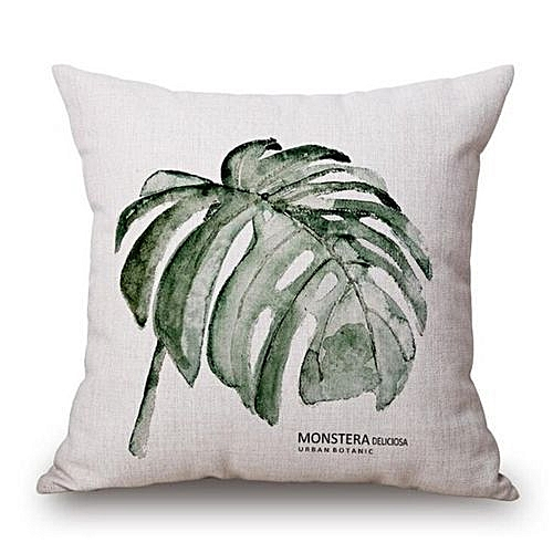 Generic New Modern Plain Cushion Covers Linen Green Plants Throw