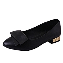 Office Women Shallow Fish Mouth Low Heel Shoes Pointed Single Shoes BK/35-Black -CN SIZE