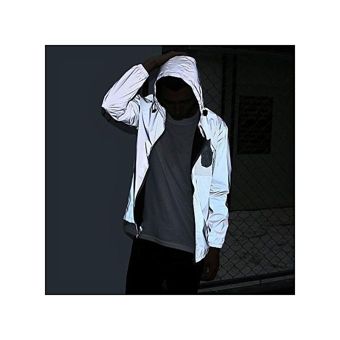 40c54b7134e3a Men's New Hot Sale: Reflective Jacket Men/women Harajuku Windbreaker Jackets  Hooded Streetwear Coats