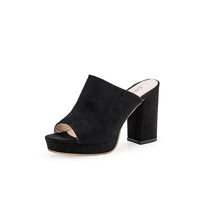 e961f5711ad Lightning Shop Ladies Women Square High Heels Slipper Flip Flop Sandals  Fish Mouth Shoes