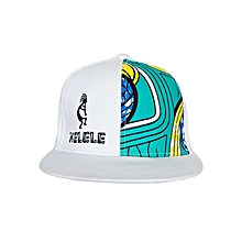 White And Cyan Snapback Hat With Kelele Color On Panel