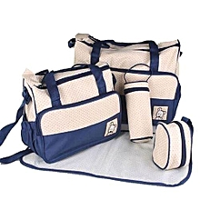 Baby Diaper Bag 5pc. Set, Baby Bottle Holder, Stroller bag, Travel bag - Beige & Blue