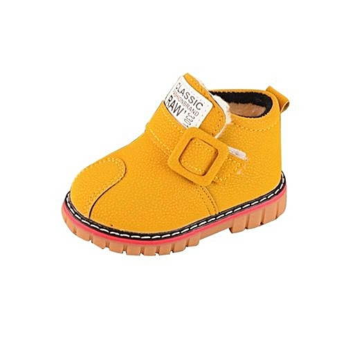 b974d8a9cd YiQu bluerdream-Infant Toddler Kids Baby Girls Boys Leather Shoes Winter  Martin Snow Boots Shoes- Yellow