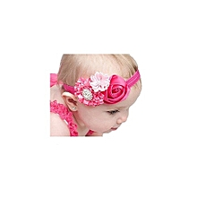Beautiful Three Flower Pink Baby Girl Elastic Head Band