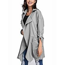 3da8fb46690 ZANZEA PLUS SIZE Womens Lapel Slim Long Chiffon Parka Cardigan Jacket  Trench Coat New Beige Size