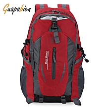 Guapabien Large Capacity Patchwork Buckle Ladder Lock Zipper S Shape Mesh Strap Outdoor Portable Backpack-RED