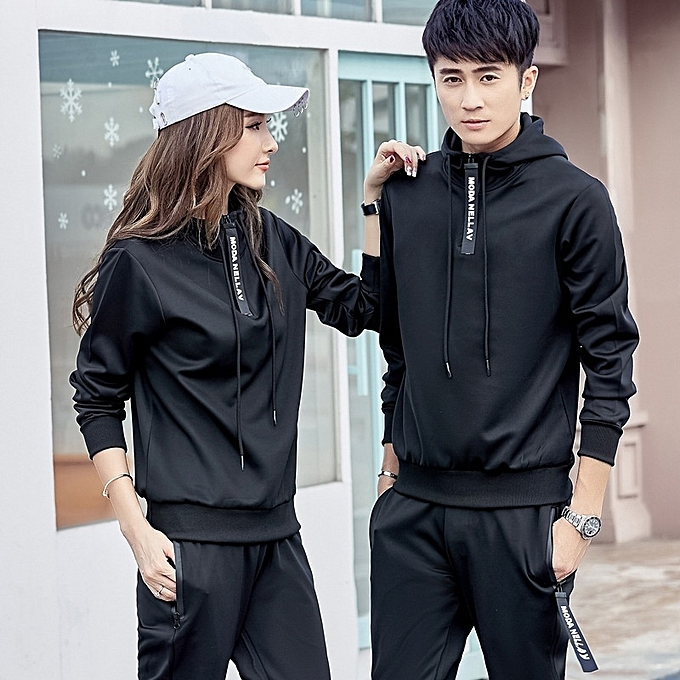 a528b2e9f35 Autumn New Womens Sports Suit Hooded Letter Printing Personality Zipper  Beam Feet Couple Casual Women Suit Jacket + Pants