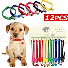 12Pcs Cat Dog Puppy Collars Reflective Pet Collars With Bell Gift Wholesale