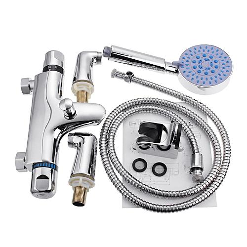 Generic Thermostatic Bathroom Taps Bath Shower Mixer Tap Handset Deck Mounted Valve Kit