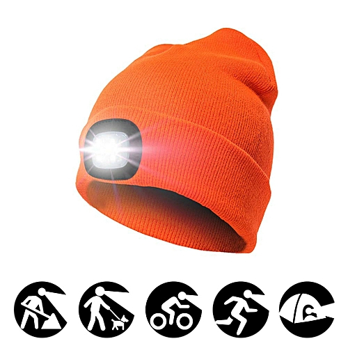 01f53fd3 Generic Bright LED Lighted Beanie Cap Unisex Rechargeable Headlamp Hat  Hands Free