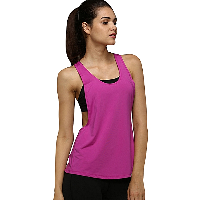 4c1603fd198ef6 Women Yoga Sleeveless Backless Running Sports Vest Jogging Gym Fitness Tank  Top-Purple