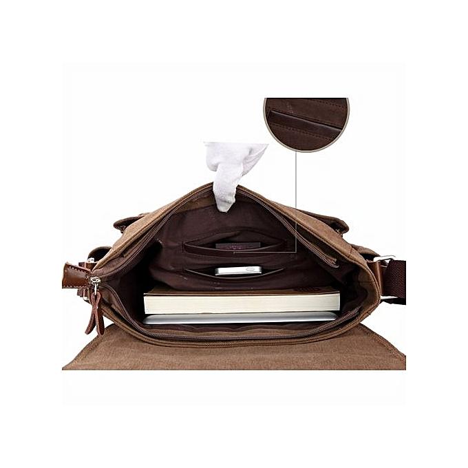 Men Vintage Canvas Messenger Shoulder Bag Crossbody Sling School Bags Satchel CO-Coffee