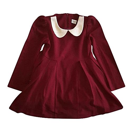 4e2df7c867d3 Generic Pretty velvet maroon dress with white collar   Best Price ...