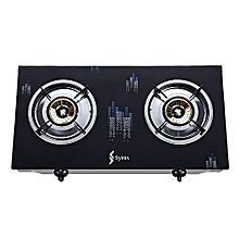 2 Burner Gas Cooker -Table Top - Gas Stove - Tempered Glass