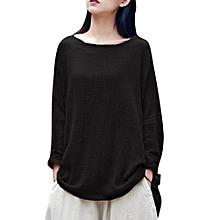 ZANZEA Women Retro Irregular Hem Cotton Linen O Neck Long Batwing Sleeve Blouse Loose Casual Solid Shirt Blusas Pullover S-5XL Black