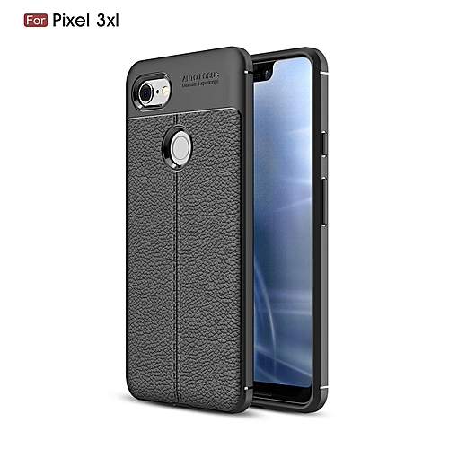 buy popular fab60 e9050 Google Pixel 3 XL(Pixel 3XL) Silicone Case Litchi Pattern TPU Anti-knock  Phone Back Cover - Black
