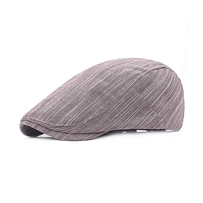 2470c211dea Mens Cotton Stripes Beret Hat Outdoor Casual Breathable Forward Cap  Adjustable