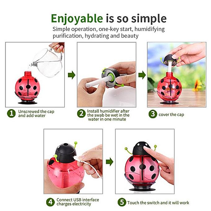 14a9de282 ... car air freshener Ladybug Ultrasonic Humidifier 5V Led Light USB  Portable Office Car Air Diffuser Mist