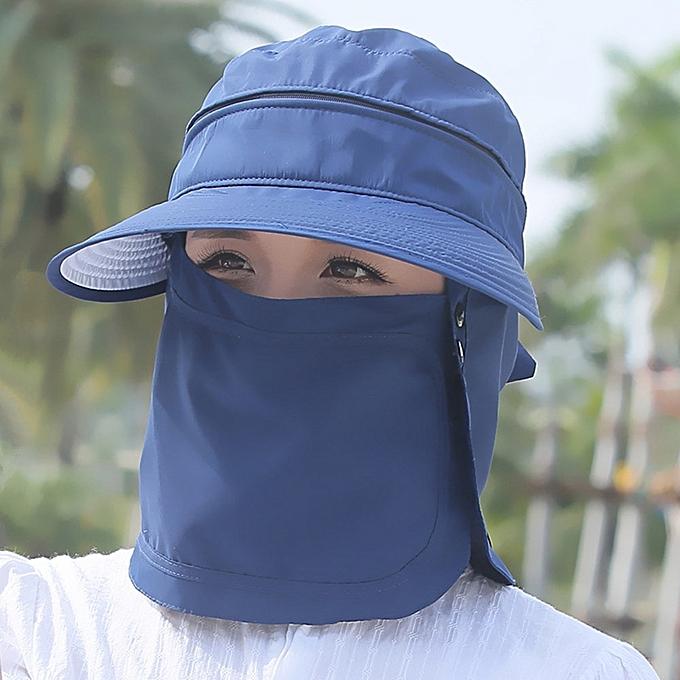 3175fbb96 Sun Caps Flap Hats 360 degree Solar UV Protection Sun Hat Summer Men Women  Sun Visor Cap Folding Removable Neck Face Mask Head(blue)