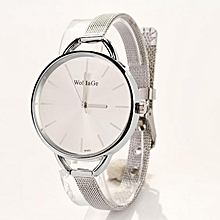 Fashion Luxury Gold/Silver Quartz Lady Women Wrist Watch-Silver