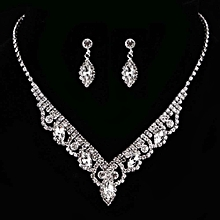 KaLaiXing Pearl Necklace Bride Diamond Jewelry Sets. Necklace Earrings Diamond Water Droplets Elegant Women Jewellery Set of Crystal Pendant Necklace+Earrings-XL02