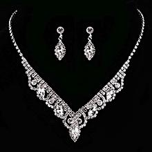 KaLaiXing Pearl Necklace Bride Diamond Jewelry Sets. Necklace Earrings Diamond Water Droplets Elegant Women Jewellery Set of Crystal Pendant Necklace+Earrings-XL02