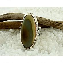 Imperial Jasper Semi Precious Gemstone in 925' Sterling Silver Ring Size 7.