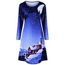 Christmas Plus Size Graphic Long Sleeve Tee Dress