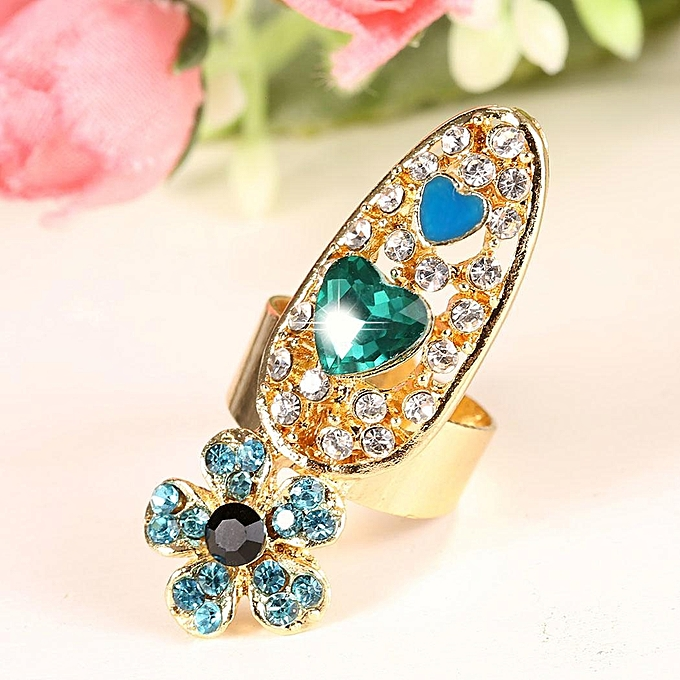 Buy Sunshine Fashion Bowknot Crown Crystal Finger Nail Art Ring ...