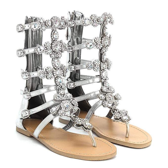 9df089cbc Fashion Gladiator Women Rhinestone Strap Strap Flip Flop Sandal Flat Beach  Shoes-EU
