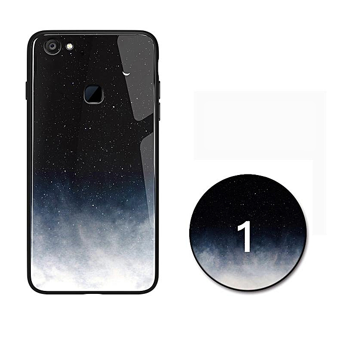 Glass Case For VIVO V7 V7 Plus With Starry Design Fashion Style HD Tempered  Glass Cover Casing for Vivo V7 Case V7 Plus Case (V7-2)