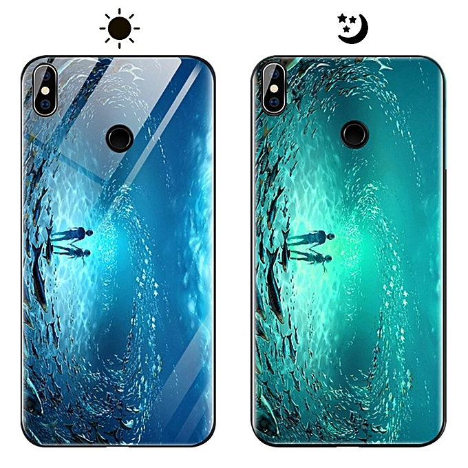 lowest price 2d978 06d12 Xiaomi Mi A2 Lite Case, Fashion Luminous [Noctilucent] Tempered Glass Back  Cover With Soft Silicone Rubber TPU Bumper Hybrid Protection Case For ...