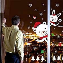 Bear Rabbit DIY Christmas Shopping Mall Display Window Wall Decal Sticker