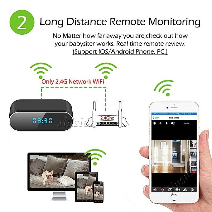 H 264 WiFi Table Clock Mini Camera 1080P HD IP P2P DVR Camcorder Alarm Set  Night Vision Motion Sensor Remote Monitor Micro Cam JUN( Standard)