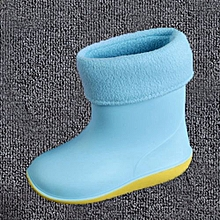 Waterproof Child Soild Rubber Warm Infant Baby Rain Boots Kids Rain Shoes- Sky Blue