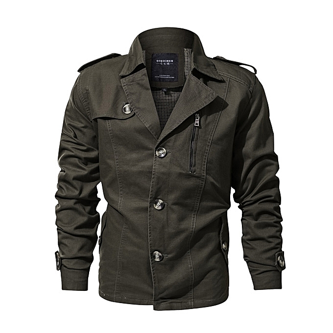 6f838a4d8 Mens Lapel Collar Single-breasted Trench Coat Military Cotton Multi-pocket  Casual Jacket