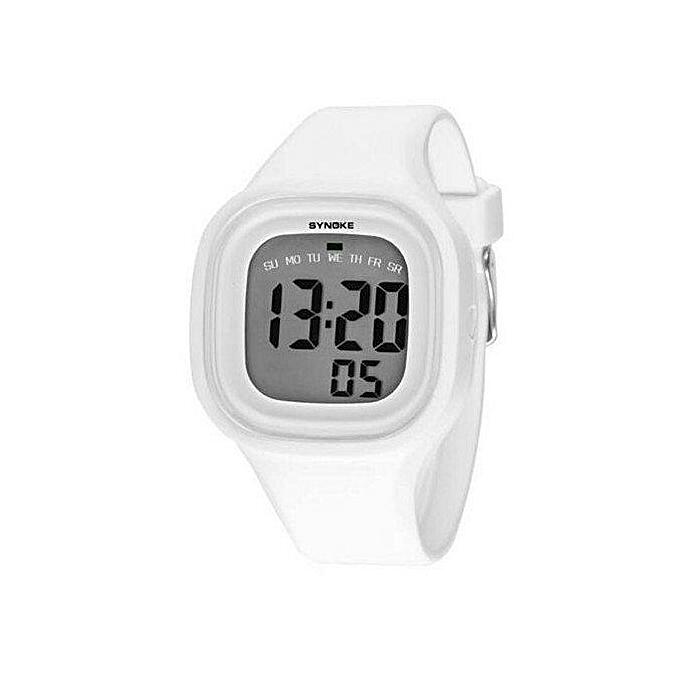 Synoke 66896 Women Waterproof Sport Watch Cool Fashion Digital Wristwatch (White)